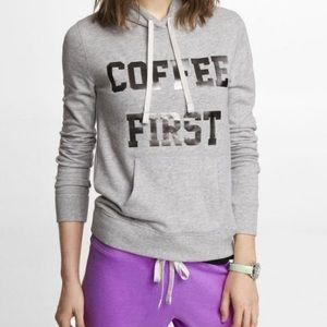 Express Coffee First Gray Hoodie